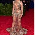 Manga larga Escarpada Atractiva Crystal Sirena Beyonce Vestidos de La Celebridad 2016 Met Gala de Colores Con Cuentas Backless Largo Vestidos de la Alfombra Roja