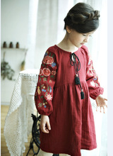 girl retro embroidered flowers dress autumn loose cotton linen lantern sleeve dresses 4-8Yrs kids holiday dress children clothes flower embroidered lantern sleeve dress