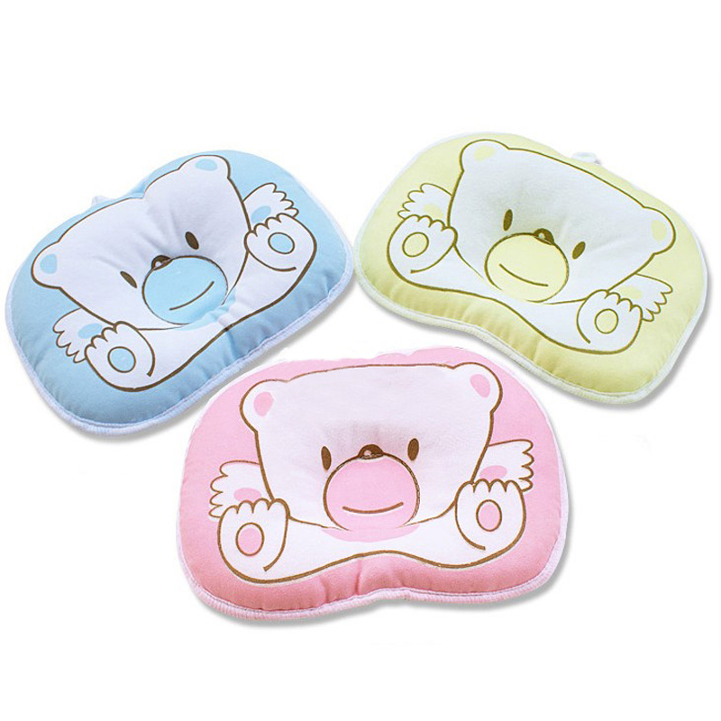 Hot selling Infant bedding print bear oval shape 100% cotton Baby Bear pillow high quality YYT090 цены онлайн