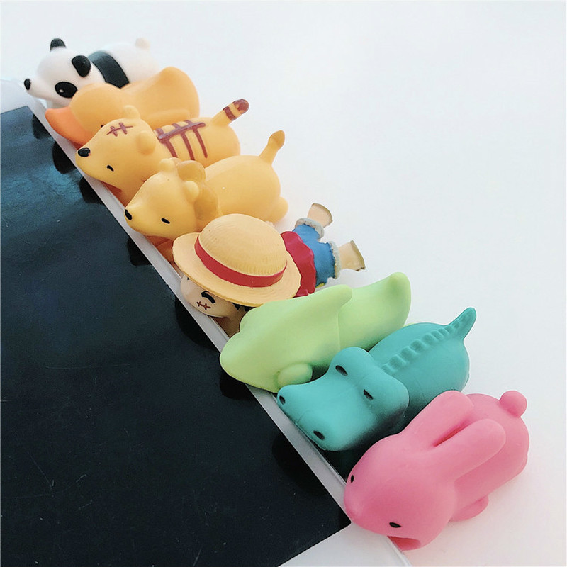 1Pcs Kawaii Animal Cable Protector For Iphone Cable Winder Panda Bite Phone Holder Accessory Organizer Doll Animal Model Funny