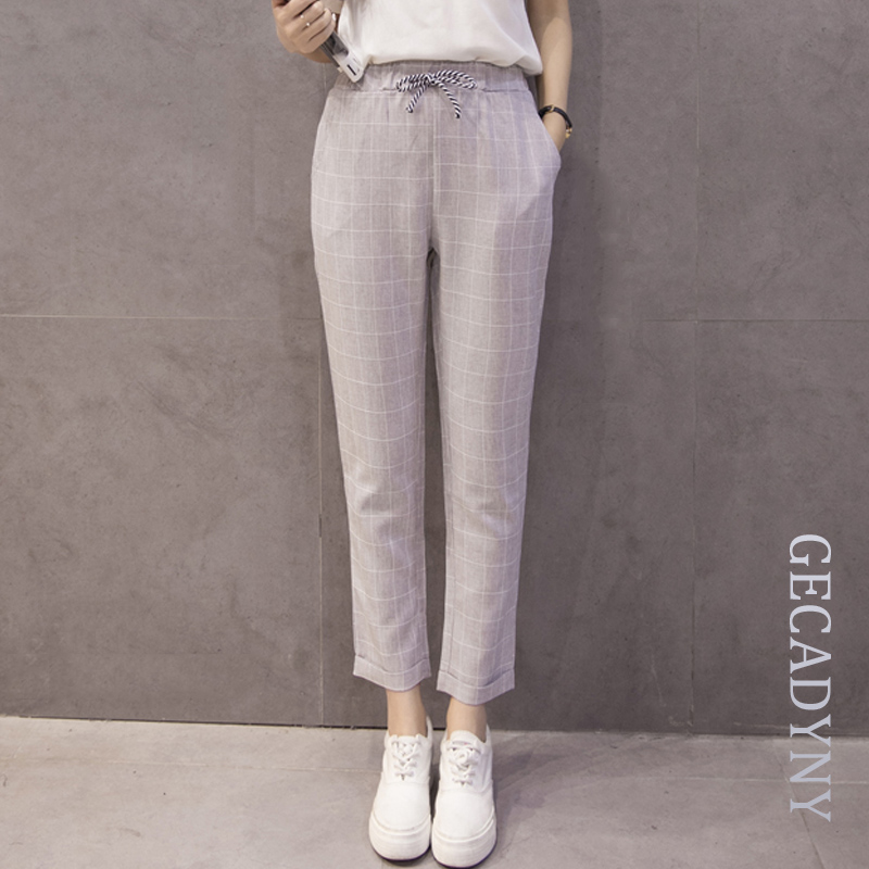 Summer New Fashion Cotton Linen Women's   Pants   Loose Elastic Waist Harem   Pants   Female Large Size S-3XL Grid Casual   Capris   Pockets