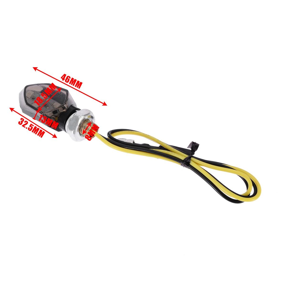 1Pair Mini Motorcycle 5LED 12V Turn Signal Indicator Light Amber Two Wire Blinker Smoke Lens Lamp For Honda For Kawasaki