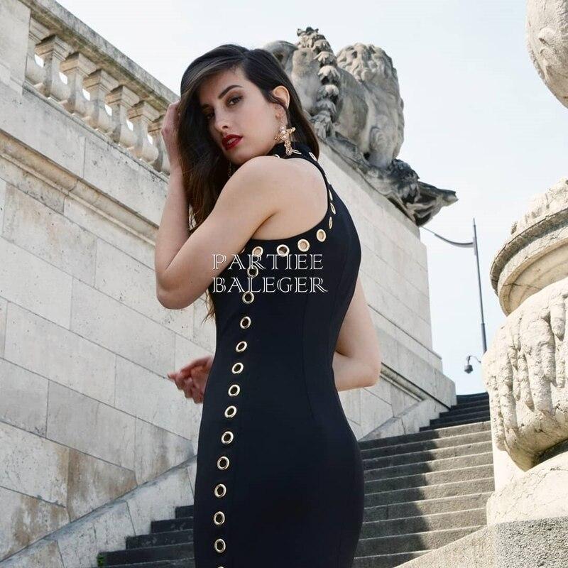 Fiesta Celebridades Sexy Largo Mangas Nueva Casual Moda De Embellecido Remache Negro Círculo 2019 Cuello Llegada Ropa Club Sin Vestido Maxi gxPfq7q4