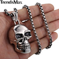 Trendsmax 316L Stainless Steel Gothic Punk Skull Black Silver Tone Necklace Pendant Mens Boys Jewelry HP154
