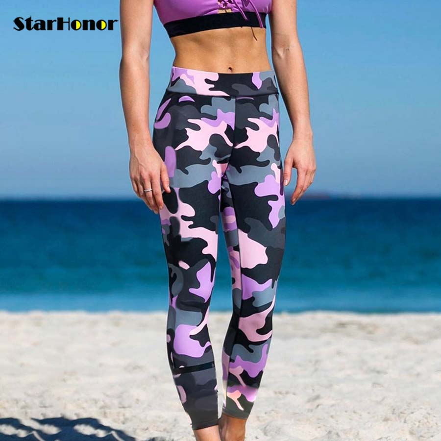 Women Print Yoga Pants Fitness Leggings Light High Elastic Shine Leggins Workout Slim Fi ...