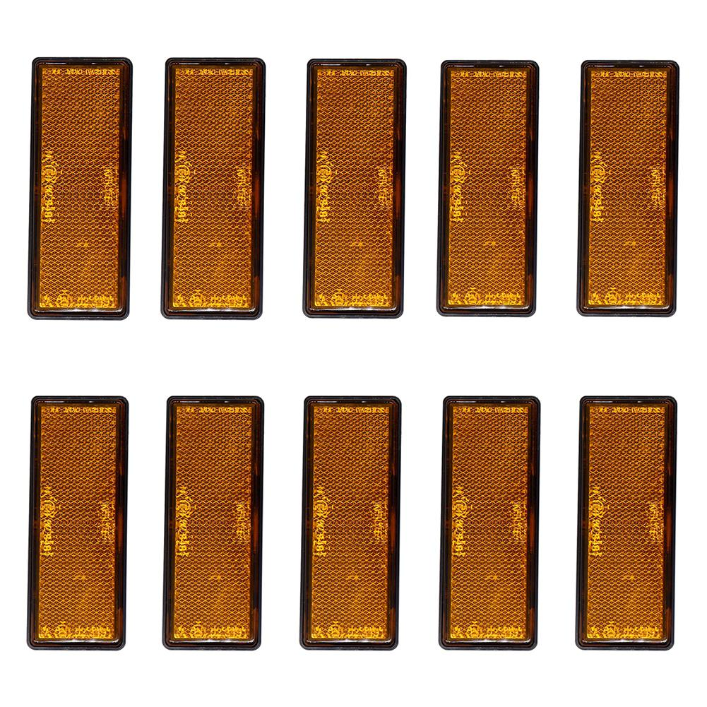 10pcs/set Car Trailer Reflectors Amber Oblong Rectangular Warning Sign Reflective Self-Adhesive Safety Sign Reflector Strip
