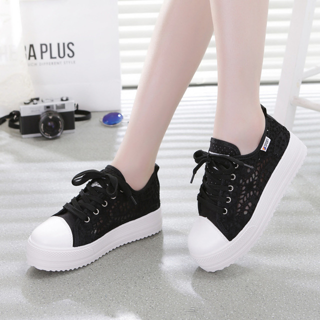 Sneakers Women Fashion Breathable Platform Casual shoes dropshing Lace Leisure flat white canvas Women's Vulcanize Shoes CLD902 2
