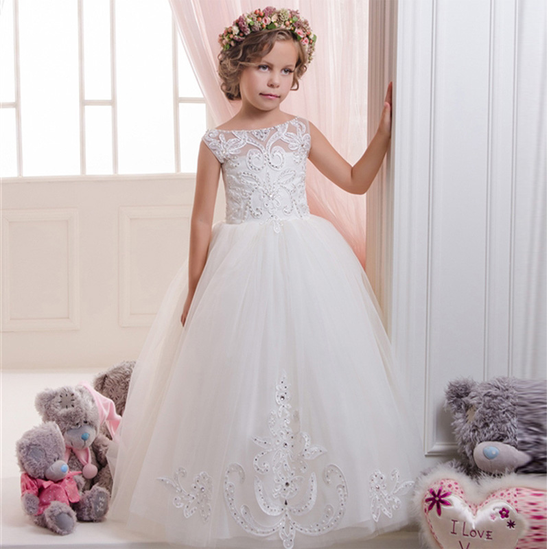 Flower Girls Pageant Gowns Appliques Pearls Ball Gown Sleeveless O-neck Custom Made First Communion Dresses Vestidos New Arrival new arrival flower girls dresses high quality lace appliques beading short sleeve ball gowns custom holy first communion gowns