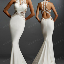 robe de soiree courte 2017 new saree sexy backless brides gown lace appliques wh