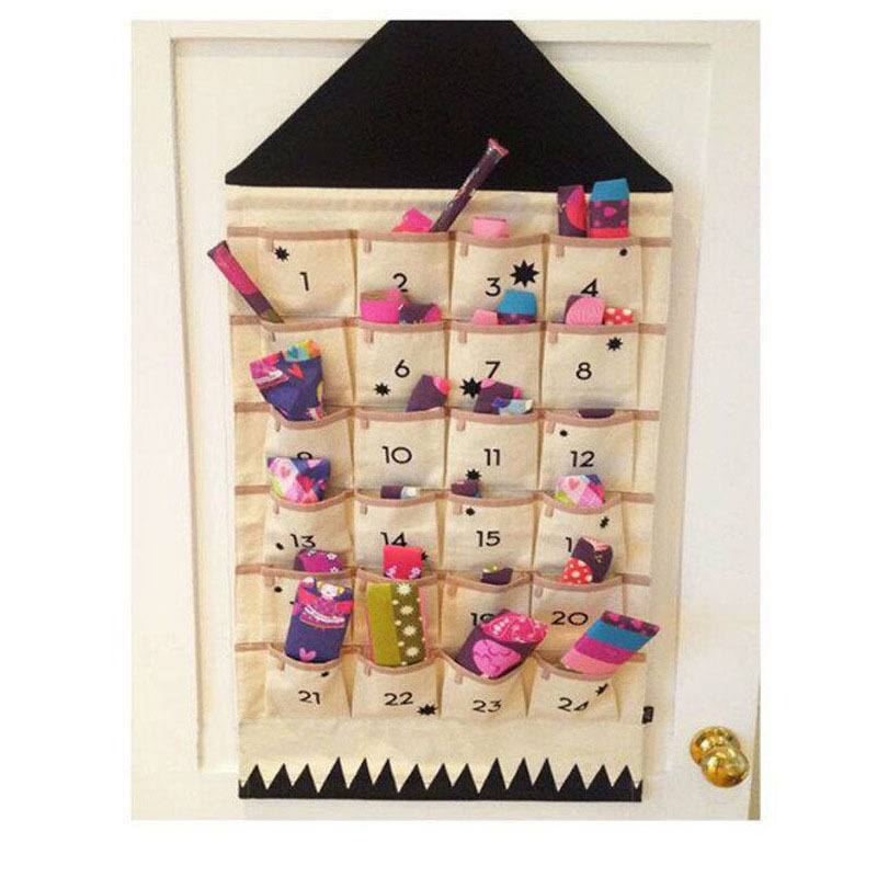 24 Pocket Calendar Storage Bag Wall Hanging Alphanumeric Canvas Sack Bags Rangement Cosmetic Organizer Children Room Organizador