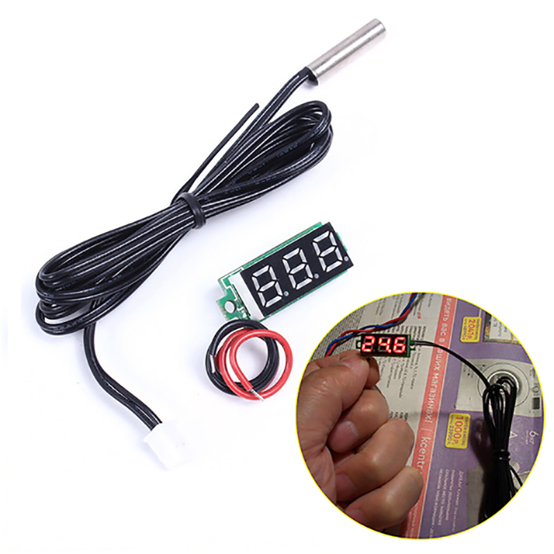 0.28 Inch Red Digital Display Thermometer Metal Waterproof Probe Temperature Sensor Temperature Meter Detector Module With NTC 0 56 red blue dual display digital led thermometer temperature meter waterproof metal probe sensor module 20 100 celsius