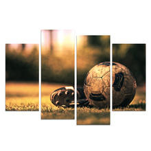 Canvas Wall Art Soccer Shoes & Football On The Green Grass-Filtere