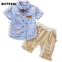 2017 Summer Newest Design Baby Boys Clothing Set Plaid Shirt Top Short Pants Suit Boys Baby