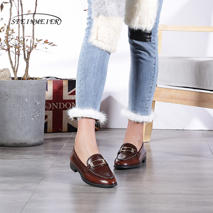 Women genuine leather suede single shoes oxford square toe brown lady buckle loafers casual shoes for