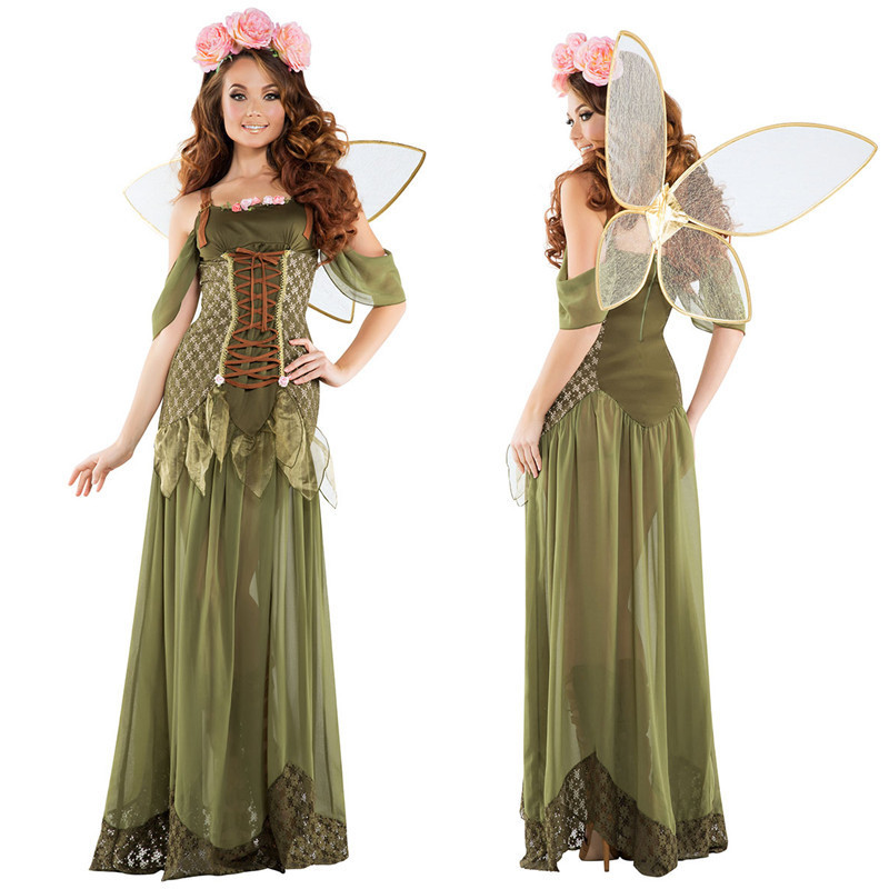 Women Dress Anime Cosplay Angel Green Forest Elves Celestial Princess Long Style Wedding Dress Costume Adult Carnaval Halloween