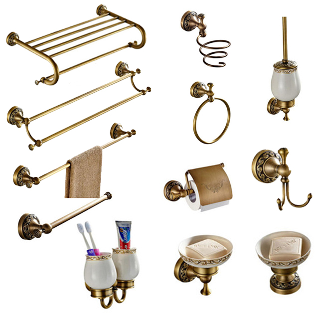 Antique Carved Double Cup Holder Brass Collection Towel Rack Bathroom Accessories Creative Paper Holder Bathroom Hardware