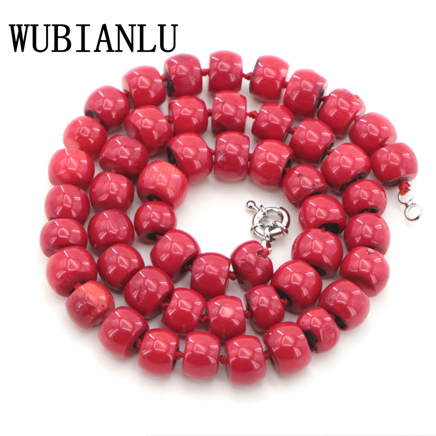 WUBIANLU New 10-12mm Natural Red Coral Necklace Charms Fashion Neck Chokers Necklaces For Women Costume Jewelry Wholesale