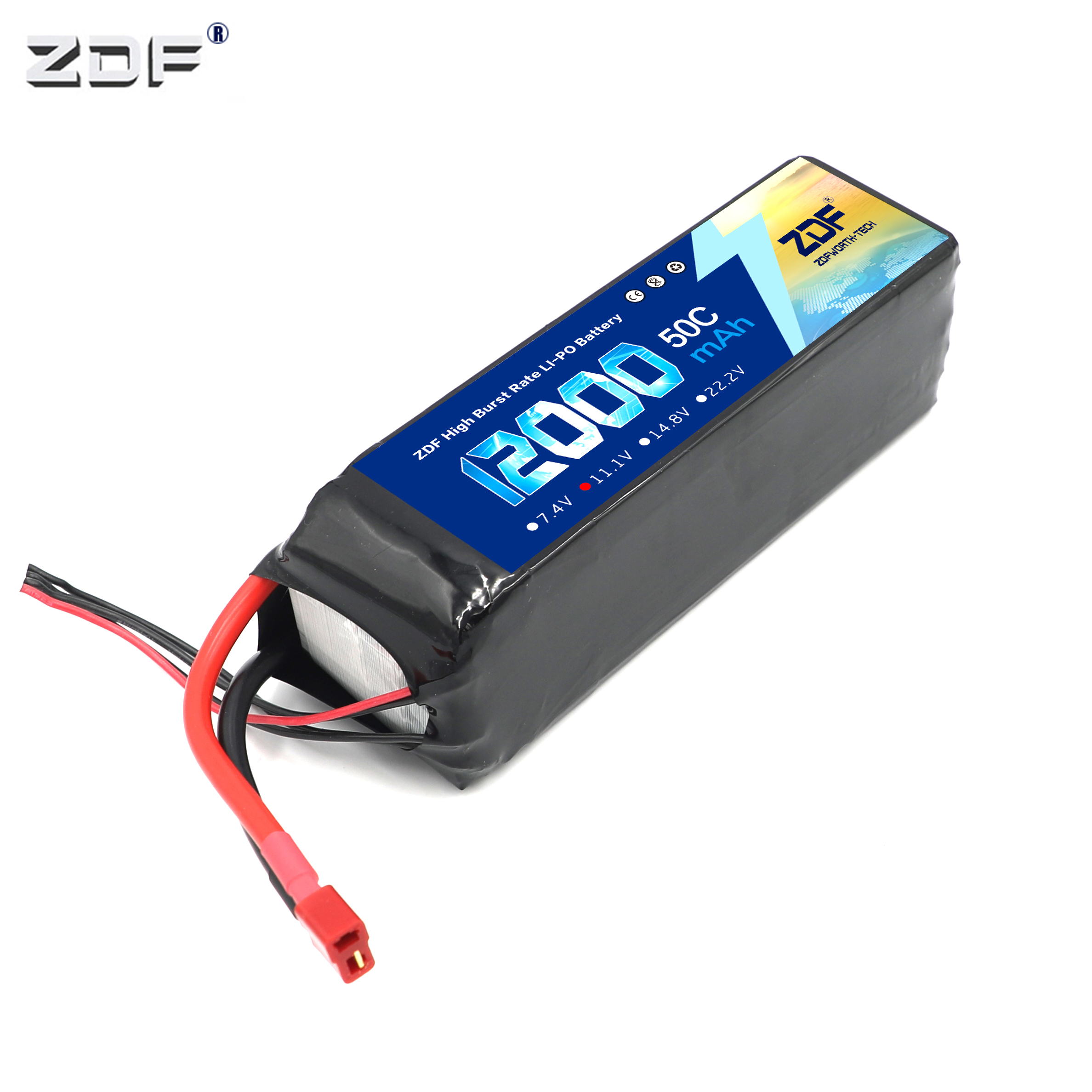 ZDF <font><b>3S</b></font> 11.1V <font><b>12000mAh</b></font> 50C/100C <font><b>LiPo</b></font> Battery pack for airplane Aerial multi - axis 1:8 1/8 RC Car four drive off-road RC Car Boat image