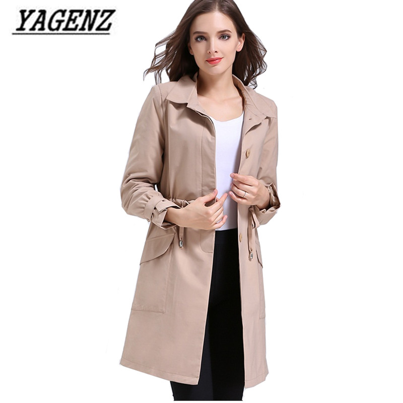 Medium long Women   Trench   Coat Elegant Slim Ladies Outerwear Large size L-5XL Adjustable belt Solid Casual Female Windbreaker