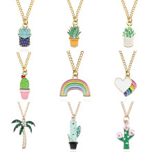 Cute Potted Plants Coconut Succulent Cactus Pendant Necklace Enamel Rainbow Heart Rose Flower Leaves Necklace For Women Collares(China)