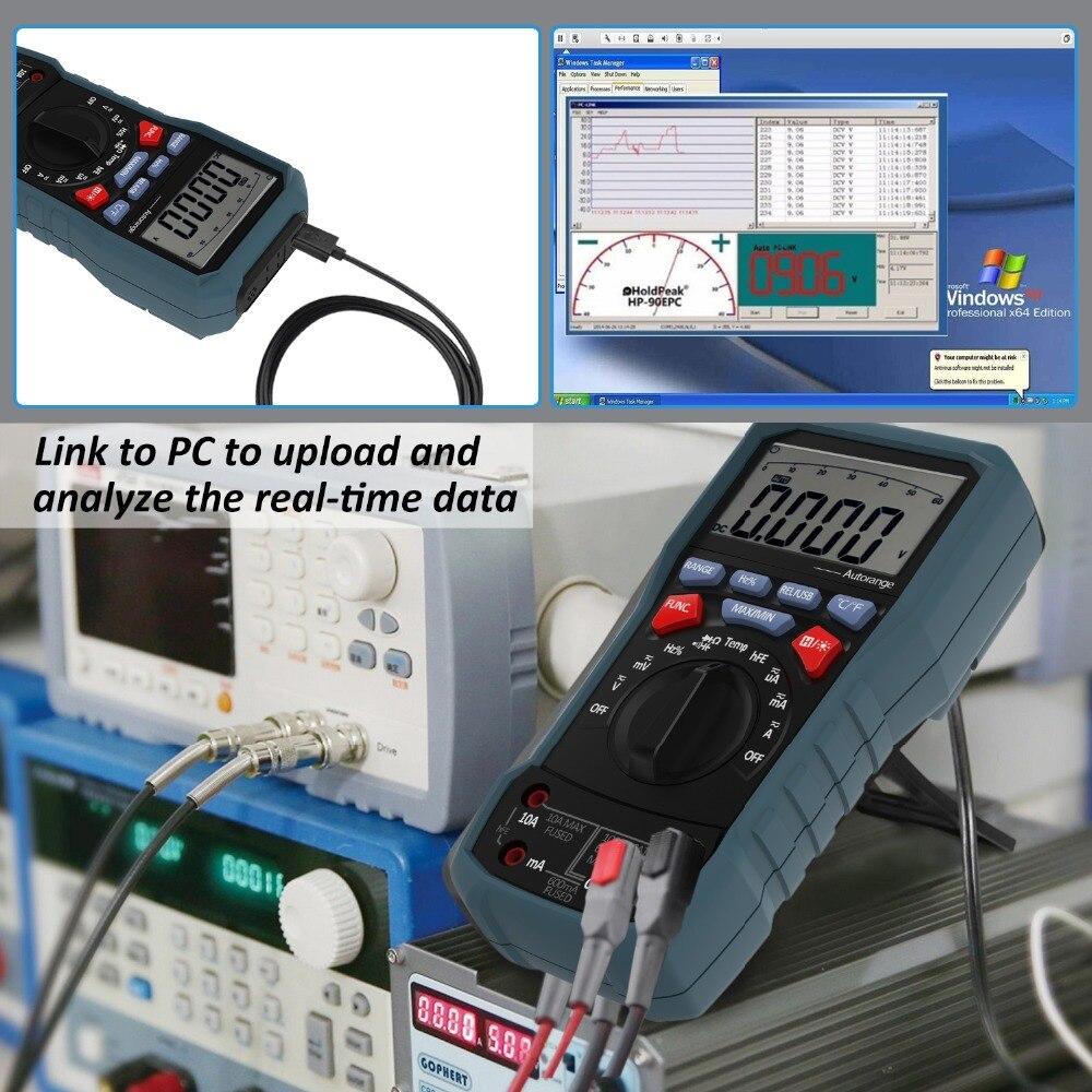 BOLYFA BF117 professionnel multimètre numérique interface USB logiciel PC CD et fonction de sortie de données AC/DC testeur de tension UT61E