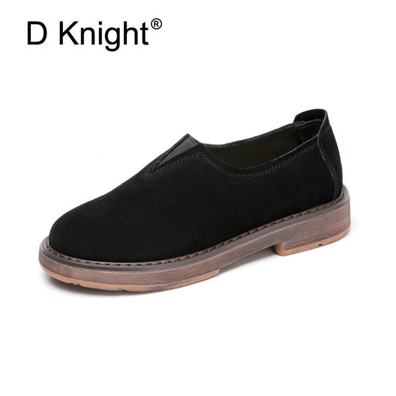 Vintage Cow Suede Loafers For Women New Fashion Round Toe Slip-on Women Casual Loafers Ladies Leisure Flat Shoes Mother Shoes new round toe slip on women loafers fashion bow patent leather women flat shoes ladies casual flats big size 34 43 women oxfords