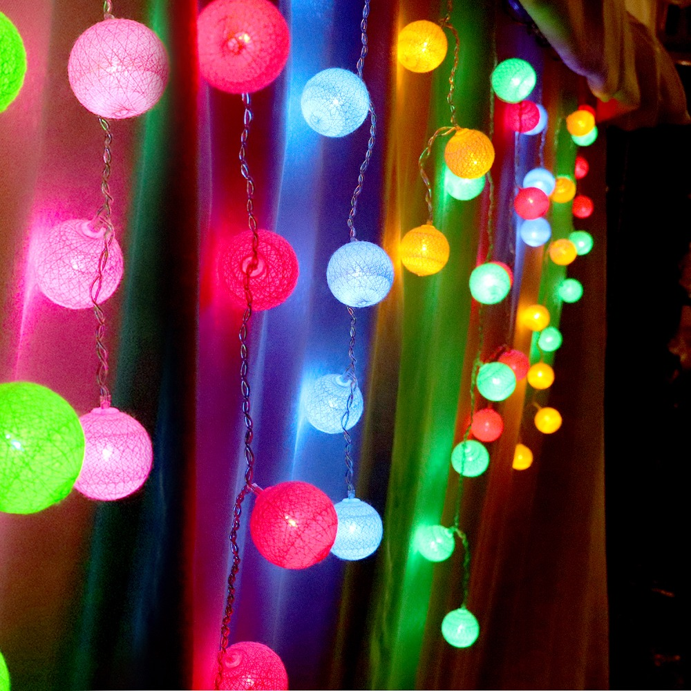 Christmas Led Curtain Light String Cotton Ball Holiday Lights 48Leds 10Leds 4 Series AC USB Fairy Garland Wedding Decoration JQ