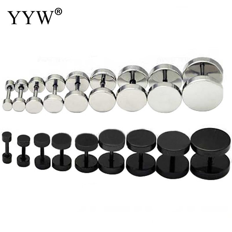 YYW Piercing Jewelry 5-14mm Punk Gothic Male Women Barbell Stainless Steel Ear Stud Fake Ear Plug Stretcher Cheater Plug Earring image