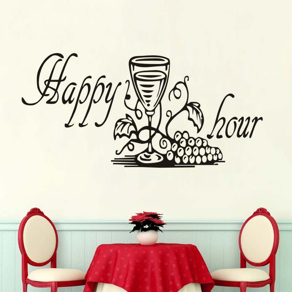 New Design Funny Kitchen Furniture Sticker,Happy Hour Grape Wine Glass Decals Dining Room Kitchen Decorative Wall Stickers