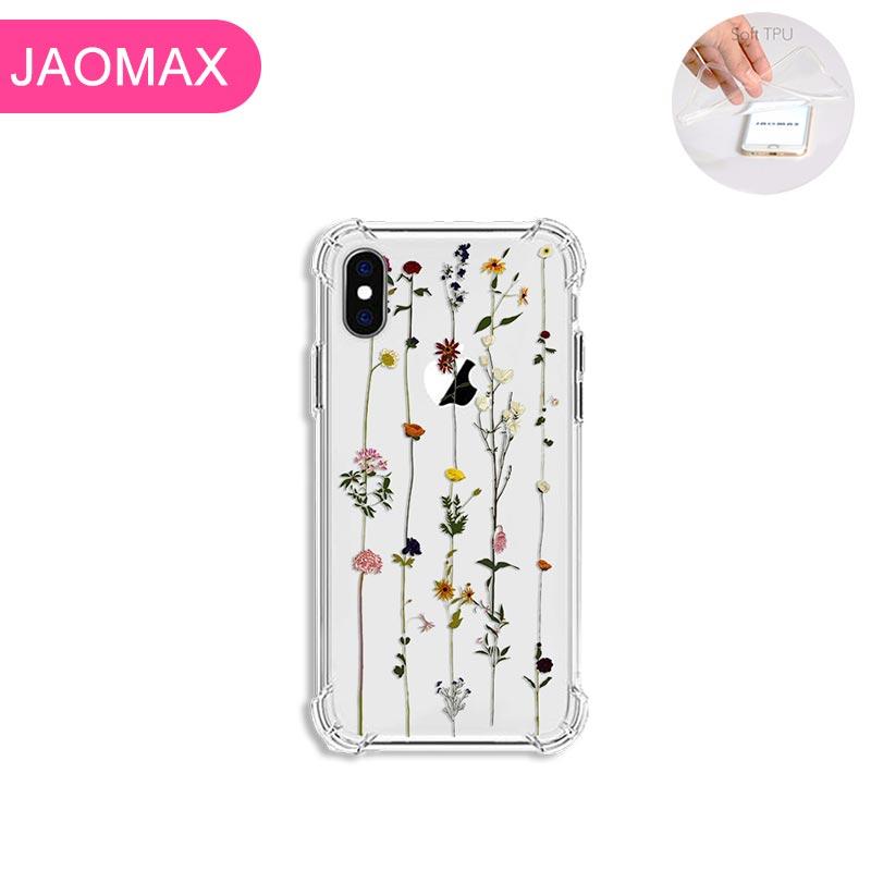Jaomax Souple Antichoc de Luxe Fleur Téléphone étui pour iphone 7 8 Plus X Xs Max 6 6s Plus 5 5S SE Xr 11 Belle Couverture Florale Fundas