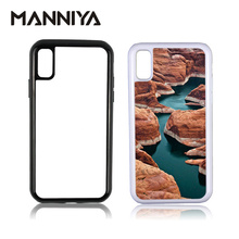 MANNIYA Blank Sublimation 2 in 1 TPU+PC Tough Dual Case for iphone X XS XR XS Max with Aluminum Inserts Free Shipping! 50pcs/lot