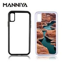 Manniya ブランク昇華 2 1 tpu + pc タフデュアルケースで iphone x xs xr xs でアルミインサート送料無料! 50 ピース/ロット