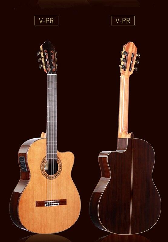 Guitare espagnole électrique découpée de 39 pouces, cèdre massif de VENDIMIA/guitare acoustique faite main en bois de rose + cordes, guitare classique