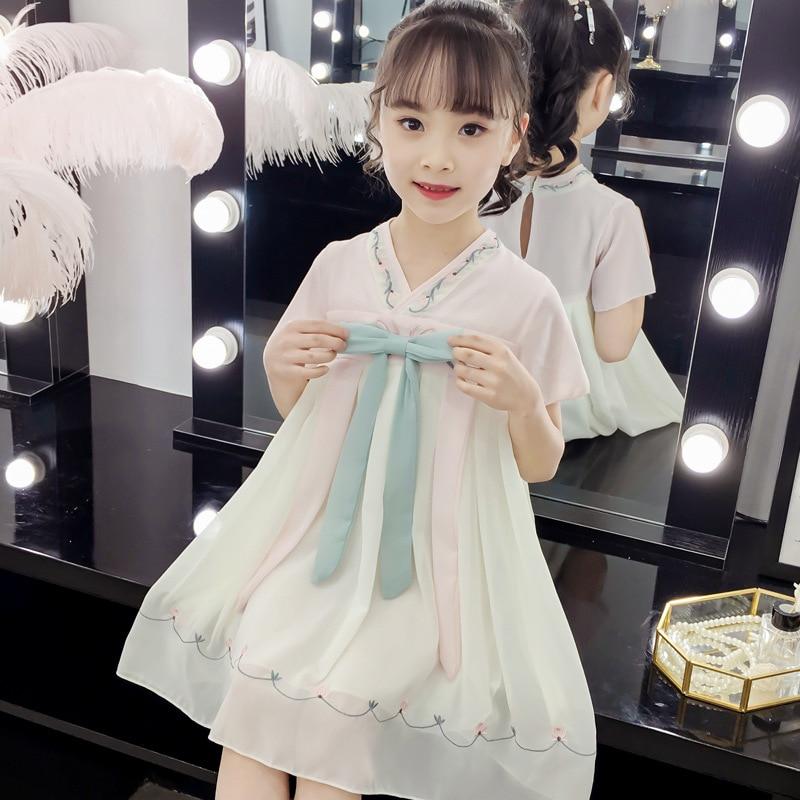 New Girls Hanfu Princess Dress Classical Dance Costume Chinese Traditional Tang Suit White Hanfu Child Festival Costume SL1064