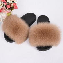 2017 Real Fox Fur Slippers Women Fashion Sliders Indoor Outdoor Flat Top Quality S6018 caged flat sliders