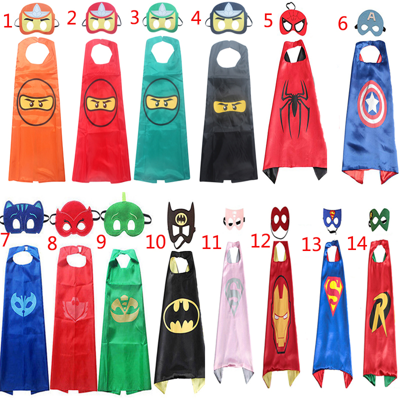 Superhero ninjago Super hero Superman spiderman batman capes with masks for kids birthday party supplies - Halloween favor gifts 1cape 1mask cloak kids superhero capes boy children superman batman spiderman halloween baby costume cosplay super hero mask