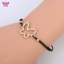 Gold Color Hollow Butterfly Bracelet for Women Rope Chain AAA Crystal Bracelet Black Elastic Cord Jewelry