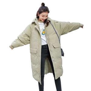 Image 1 - Женская пуховая куртка с капюшоном, длинная хлопковая парка, теплое зимнее пальто, курточка мальчикового кроя, C5074