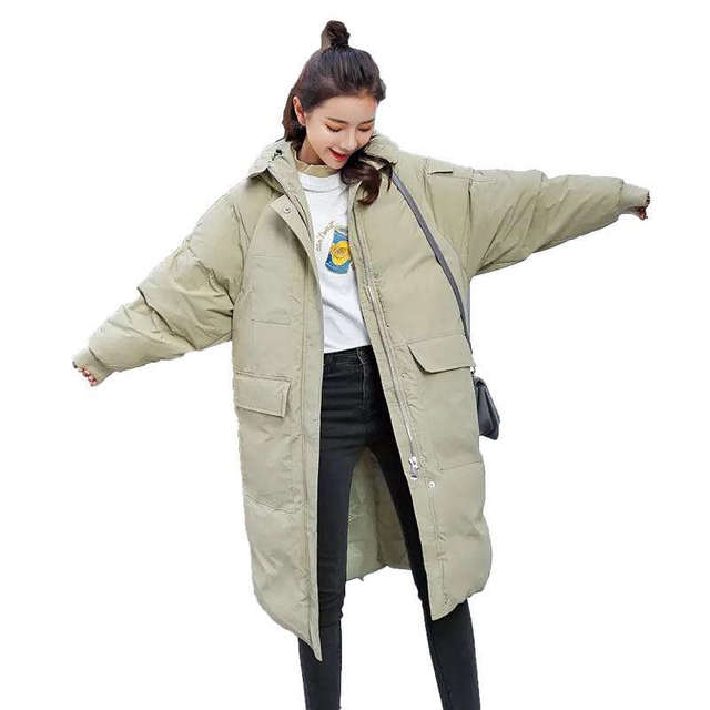 Down Cotton Winter Jacket Women Chaqueta Mujer BF Style Hoodies Thick Long Coat Warm Parka Female Jacket Cotton Women Coat C5074