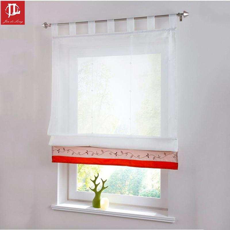europa estilo persianas romanas cortinas para la cocina caf ventana hilo de tul bordado corto