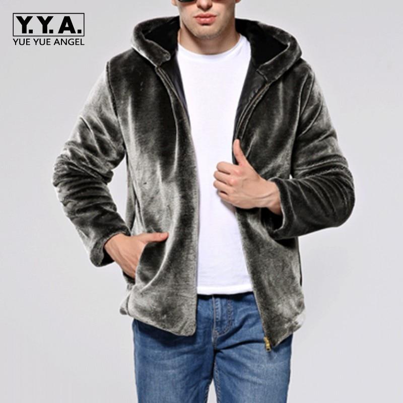 2018 New Arrival Mens Faux Fur Coats Fashion Male Warm Hooded Jackets Motorcycle Biker Zipper Pockets Plus Size Black Bomber