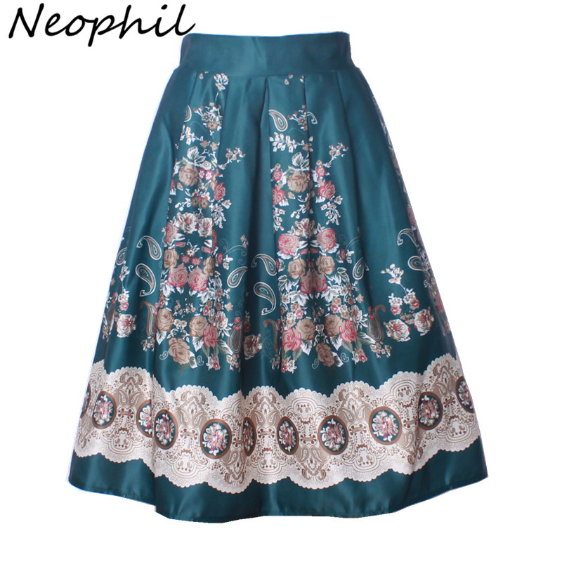 Neophil 2019 Boho Ethnic Flower Floral Print High Waist Pleated Midi Ball Gown Skirts Womens Black 50s Vintage Tutu Saias S0903