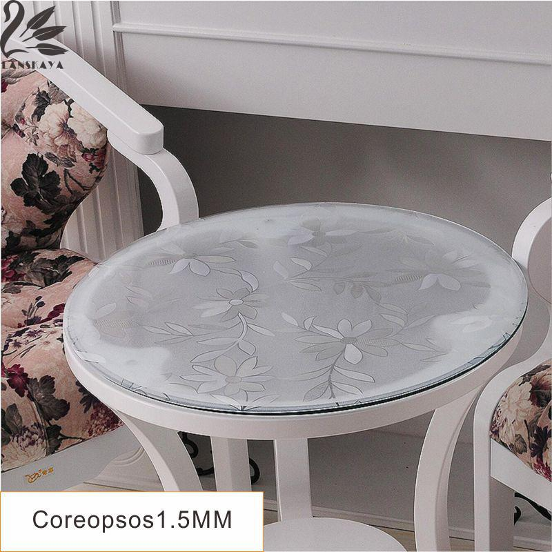 LANSKAYA Thickness 1.5 MM Round Tablecloth PVC Coreopsis Crystal Transparent  Table Cloth Waterproof Oil Plastic Tablecloth