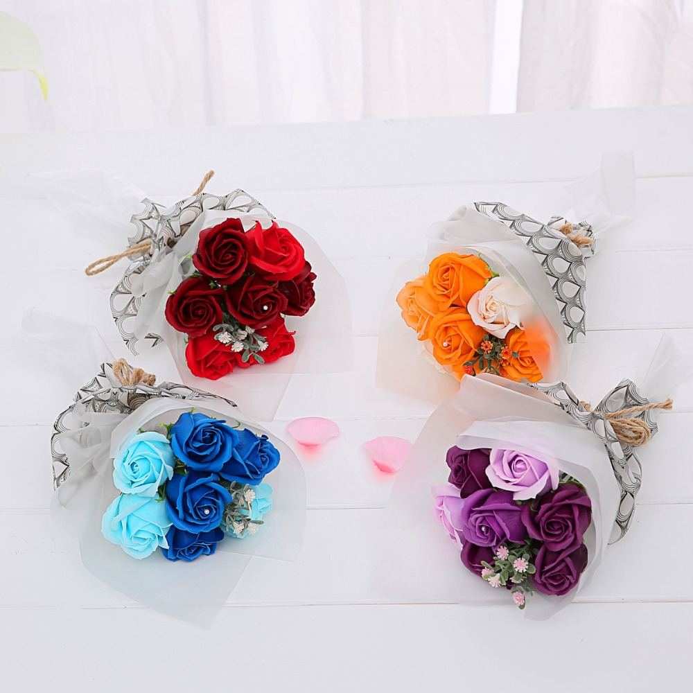 7pcs bath soap rose flower bouquet handmade korea style mothers day 7pcs bath soap rose flower bouquet handmade korea style mothers day for mom weddingbirthday gifts for family friend in artificial dried flowers from izmirmasajfo Image collections