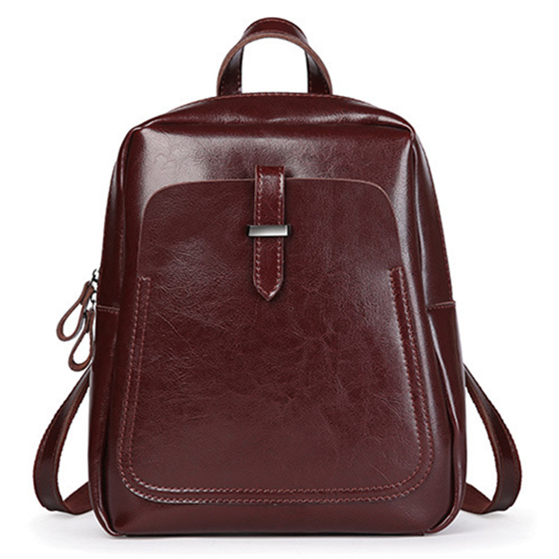 genuine leather Backpack 100% Oil wax Cow leather mochila brand 2018 New winter women school bag free shipping
