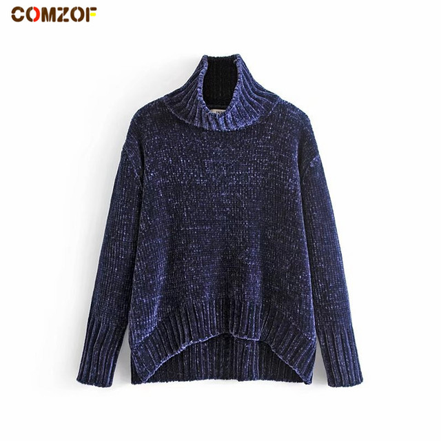 98eb19c63 Hot sale women autumn winter chenille sweater turtleneck long sleeve ...