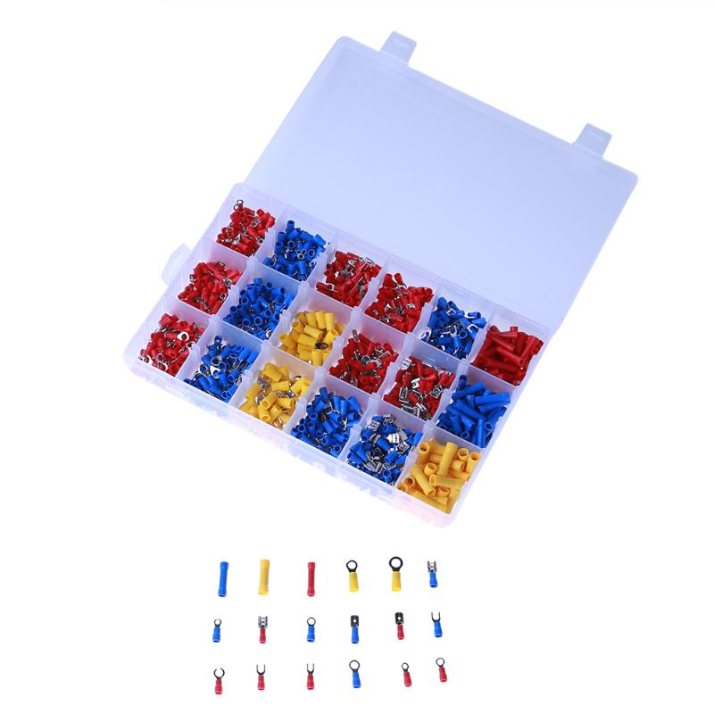 1200Pcs/ Box Insulated Terminals Spade Ring Fork U-type Electrical Crimp Connector Tube Wire Connector Assortment Kit 14 Styles 200 pcs awg16 14 wire connector tube head uninsulated pin terminals silver tone