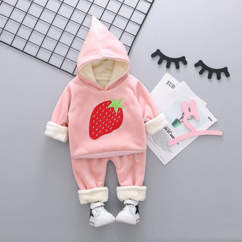 2019 Winter Baby Girl Clothing Set Strawberry Kids Tracksuit Thick Toddler Girls Outfits 2pcs Kids Winter Suit Children Clothing