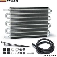 EPMAN Universal 8 Row Aluminum Remote Transmission Oil Cooler Auto Manual Radiator Converter EP HYOC405