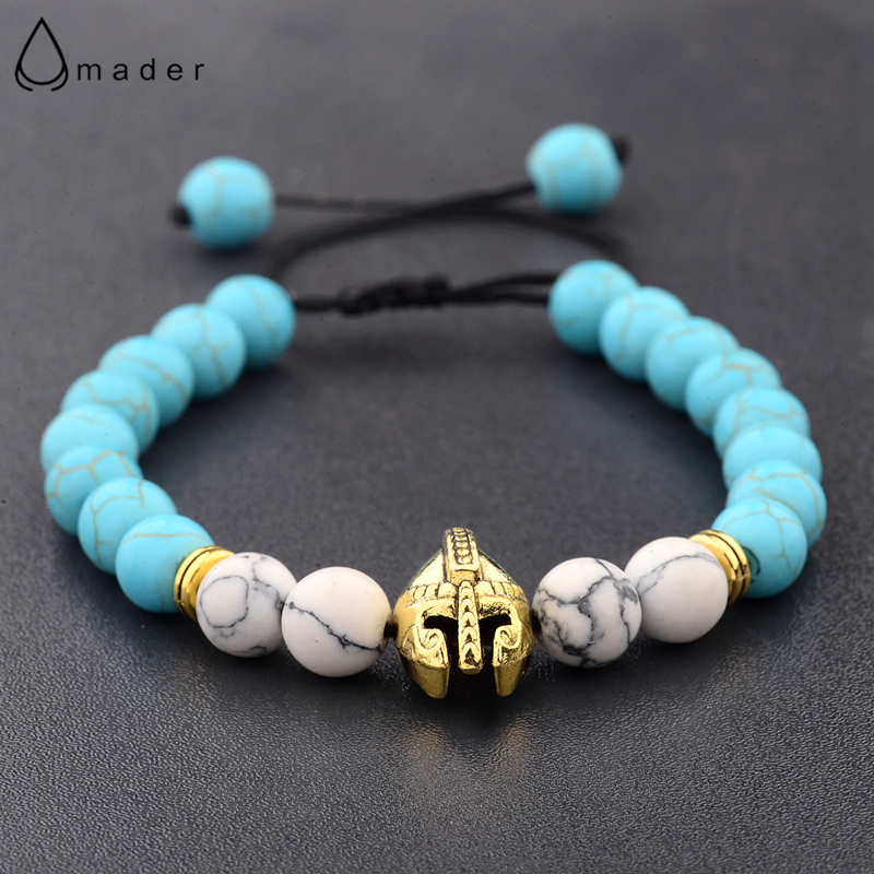 Amader Roman Warrior Gladiator Helmet Bacelet Men Turquoises&White Stone Bead Bracelets For Men Pulseras Drop Shipping